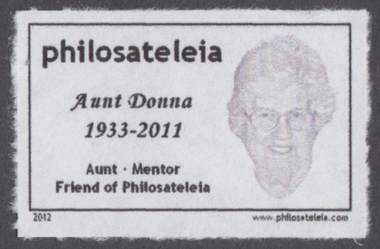 Private local post stamp with stylized image of Aunt Donna