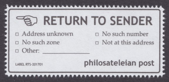 Philosateleian Post return to sender label